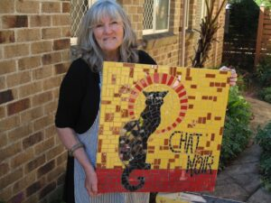 Chat Noir created in studio style mosaic classes with Brett Campbell