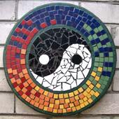 DIY mosaic tiles kits completed yin and yang by customer