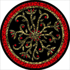 Indian flowers black mosaic design