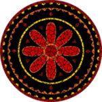 Aztec Sunflower red mosaic design