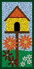 Birdhouse blue mosaic design