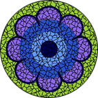 70's Flower Blue mosaic design