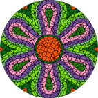 Psychedelic daisy green mosaic design
