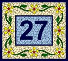 House number cream mosaic design
