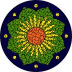 Lotus flower blue mosaic design