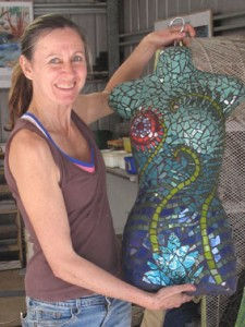 Bodice created in studio style mosaic classes with Brett Campbell