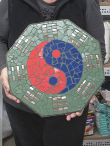 I-Ching created in studio style mosaic classes with Brett Campbell
