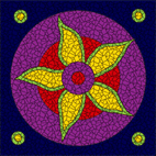 Psychedelic flower grape mosaic design